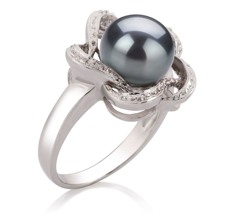 9-10mm AA Quality Freshwater Cultured Pearl Ring in Fiona Black