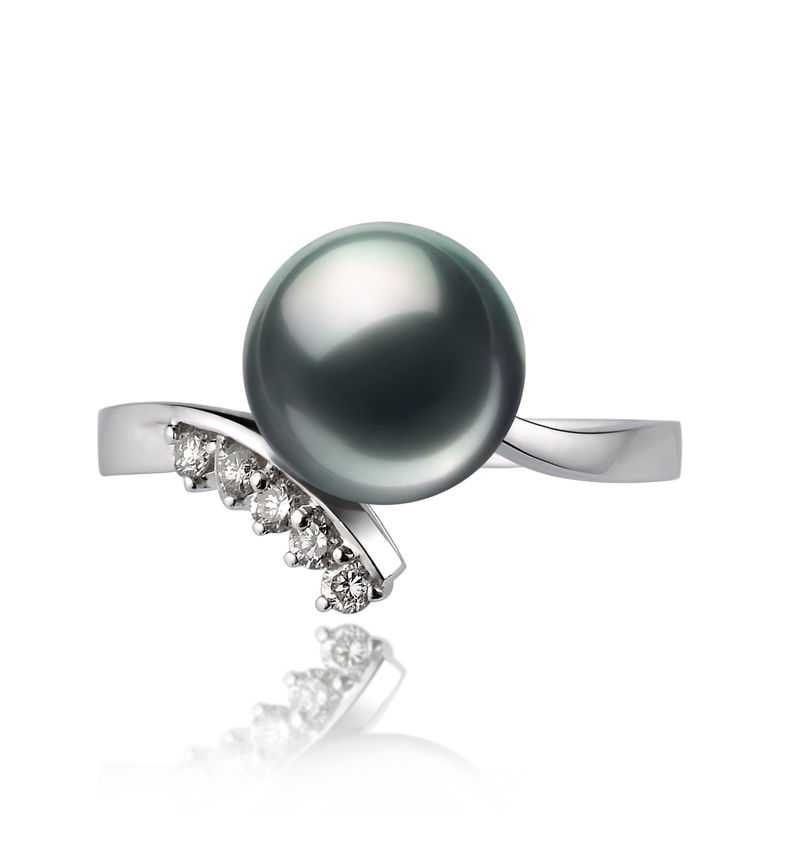 8-9mm AA Quality Japanese Akoya Cultured Pearl Ring in Grace Black