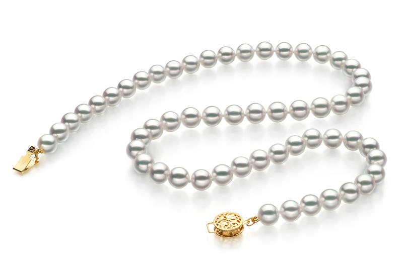 6.5-7mm Hanadama - AAAA Quality Japanese Akoya Cultured Pearl Necklace in Hanadama 23-inch White
