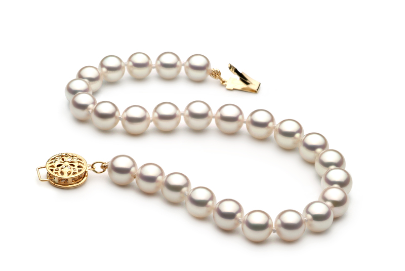 6.5-7mm Hanadama - AAAA Quality Japanese Akoya Cultured Pearl Bracelet in Hanadama 8-inch White