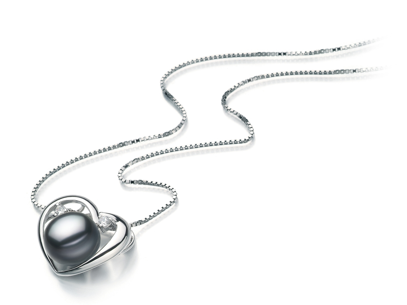 9-10mm AA Quality Freshwater Cultured Pearl Pendant in Katie Heart Black