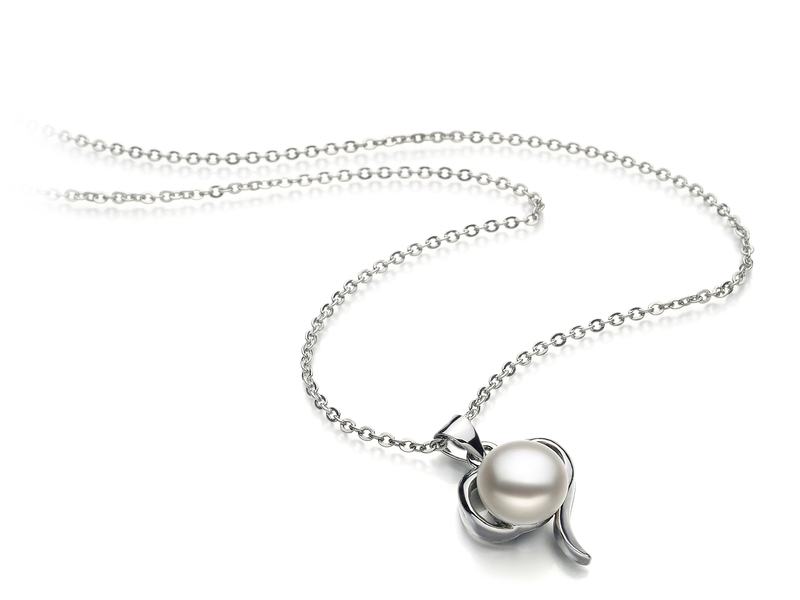 9-10mm AA Quality Freshwater Cultured Pearl Pendant in Leeza White