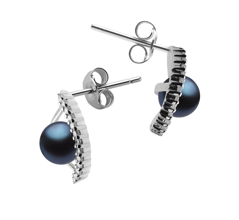 6-7mm AAAA Quality Freshwater Cultured Pearl Earring Pair in Lilia Black