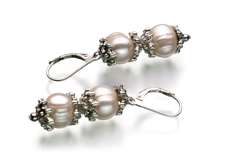 8-9mm A Quality Freshwater Cultured Pearl Set in MarieAnt White