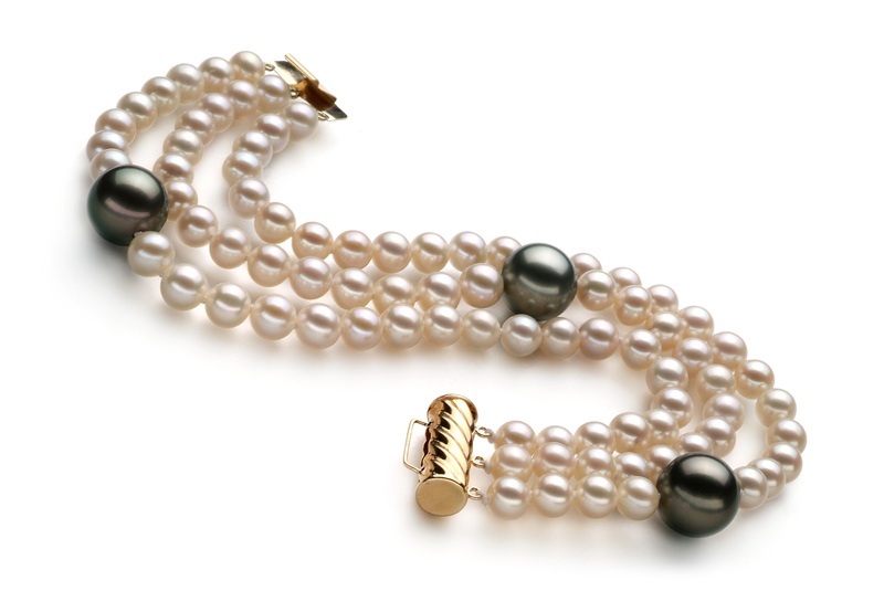 5-11mm AA Quality Tahitian and Freshwater Cultured Pearl Bracelet in Black