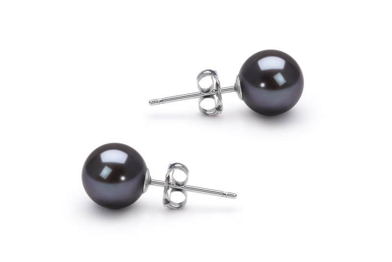 6-7mm AAAA Quality Freshwater Cultured Pearl Earring Pair in Black