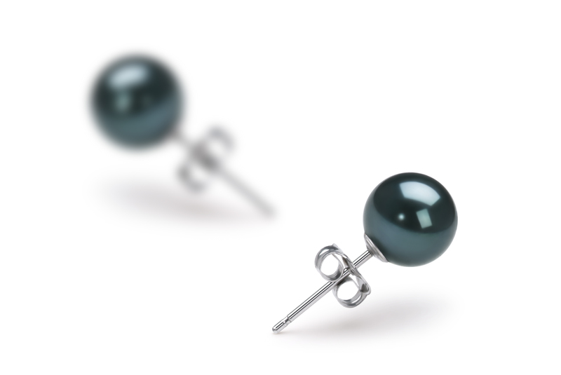 6-7mm AAA Quality Japanese Akoya Cultured Pearl Earring Pair in Black