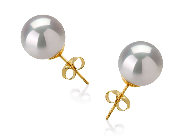 10-11mm AAA Quality South Sea Cultured Pearl Earring Pair in White