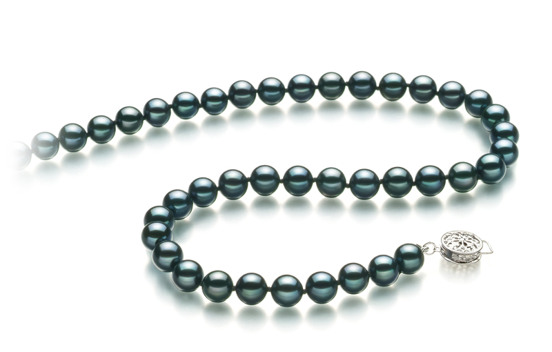 6.5-7mm AA Quality Japanese Akoya Cultured Pearl Necklace in Black