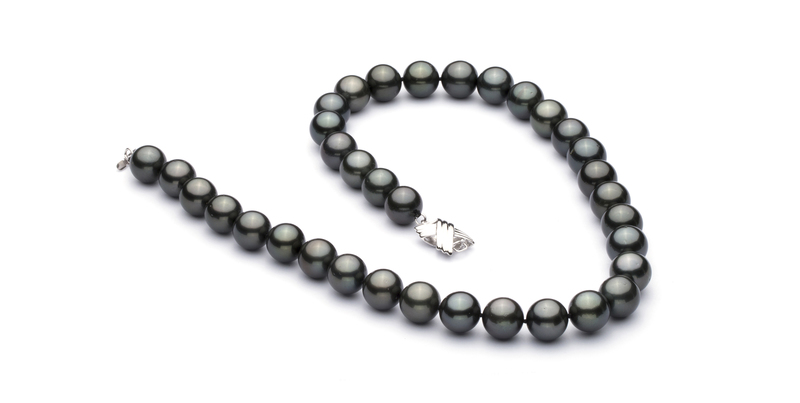 11.1-12mm AAA Quality Tahitian Cultured Pearl Necklace in Black
