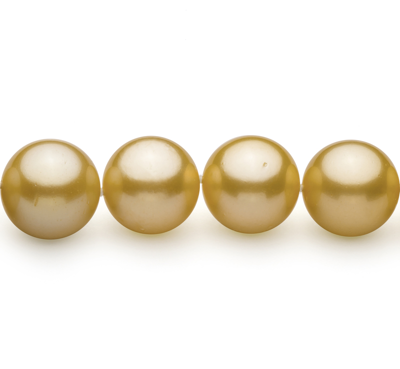 Gold 14-15.7mm AAA+ Quality South Sea 14K Yellow Gold Cultured Pearl Necklace