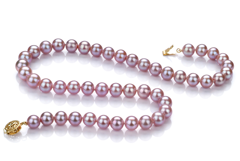 8.5-9.5mm AAA Quality Freshwater Cultured Pearl Necklace in Lavender