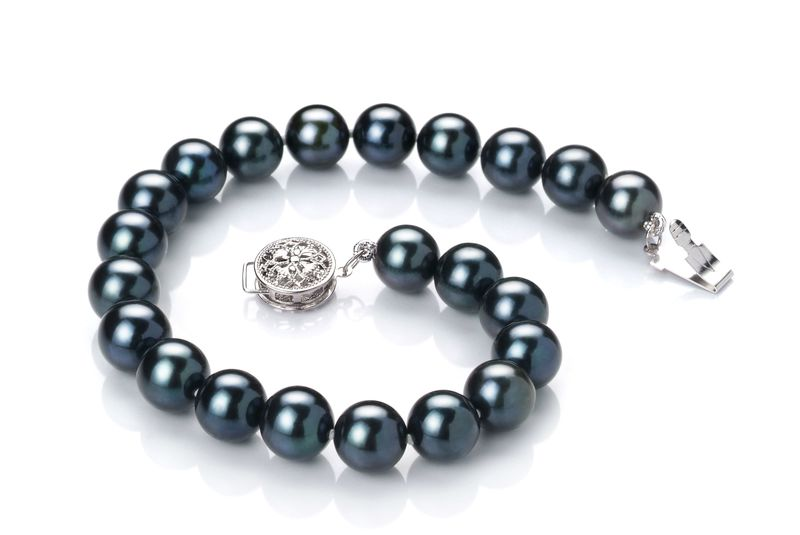 7.5-8mm AA Quality Japanese Akoya Cultured Pearl Set in Black