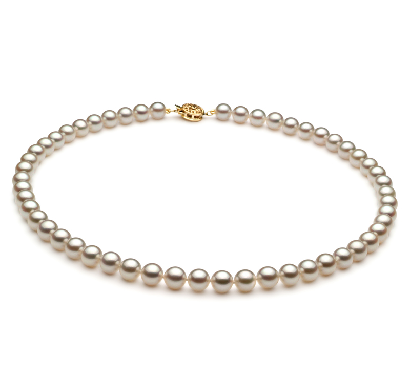 6.5-7mm AAA Quality Japanese Akoya Cultured Pearl Set in White