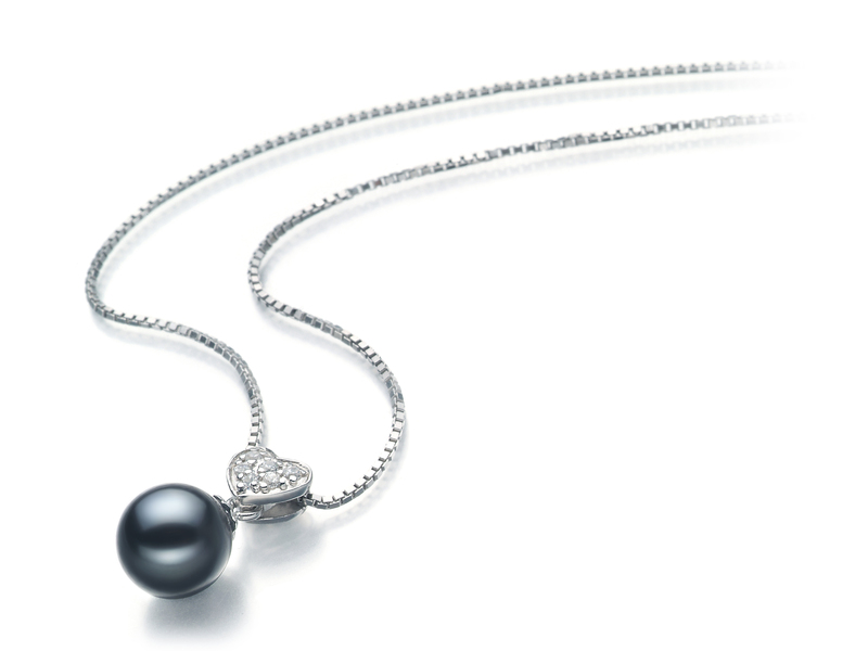 7-8mm AAAA Quality Freshwater Cultured Pearl Pendant in Randy Black