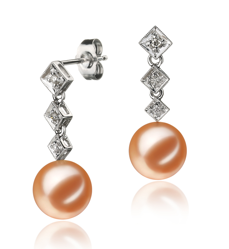 9-10mm AAAA Quality Freshwater Cultured Pearl Earring Pair in Rozene Pink