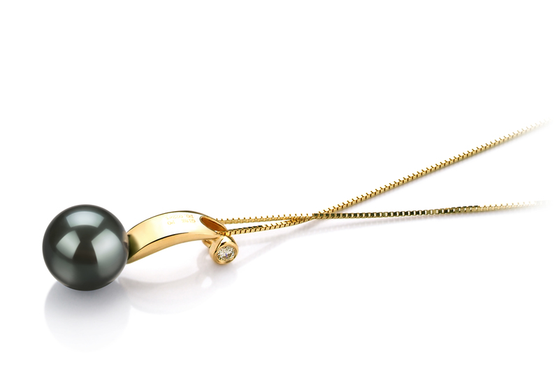 8-9mm AAA Quality Tahitian Cultured Pearl Pendant in Sora Black
