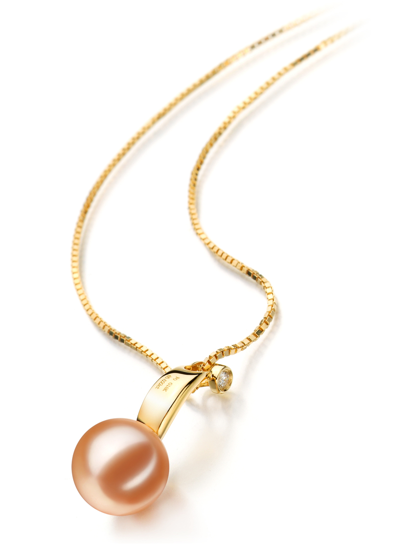 9-10mm AAAA Quality Freshwater Cultured Pearl Pendant in Sora Pink