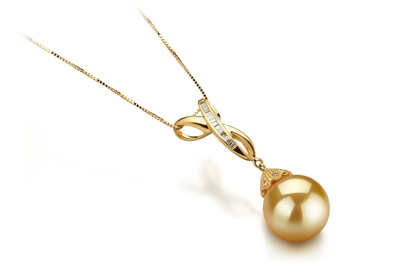 12-13mm AAA Quality South Sea Cultured Pearl Pendant in Edwina Gold