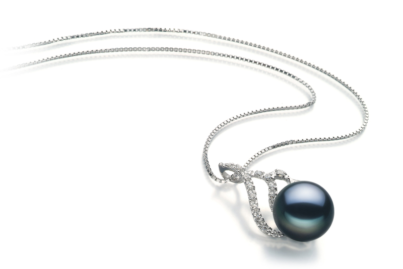 12-13mm AA Quality Freshwater Cultured Pearl Pendant in Tracy Black