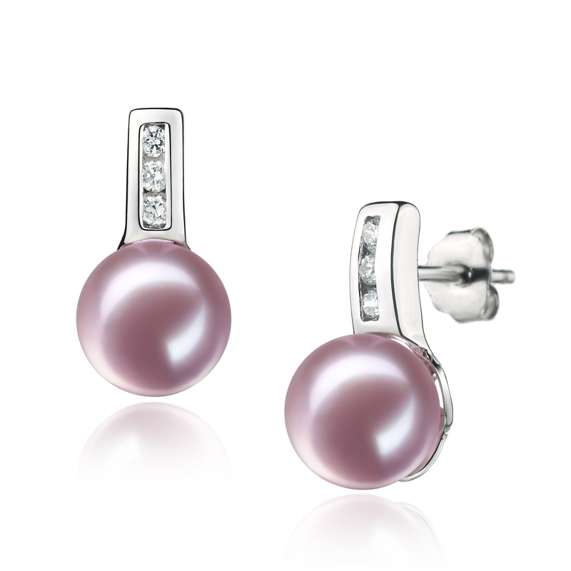7-8mm AAAA Quality Freshwater Cultured Pearl Earring Pair in Valery Lavender