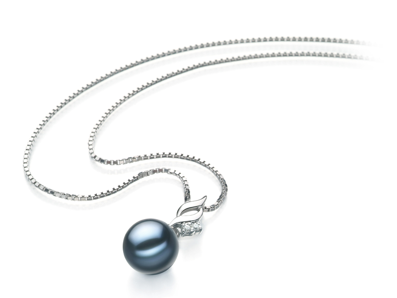 7-8mm AA Quality Japanese Akoya Cultured Pearl Pendant in Zalina Black