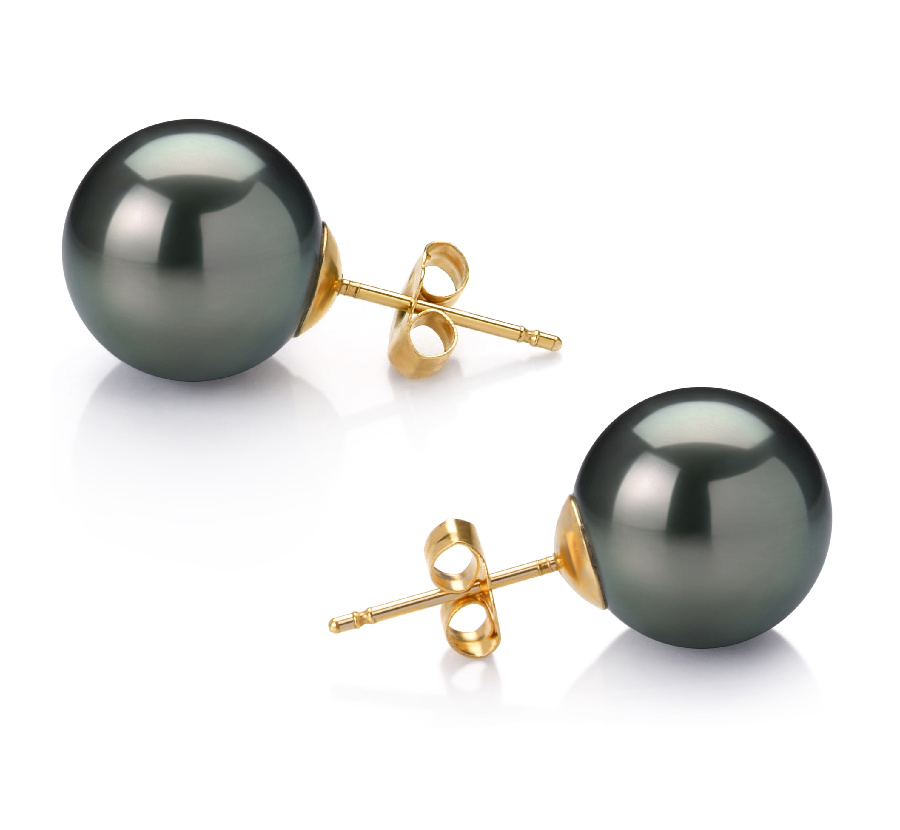12-13mm AAA Quality Tahitian Cultured Pearl Earring Pair in Black