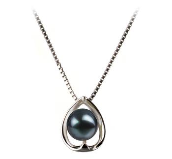 Amanda Black 6-7mm AA Quality Japanese Akoya 925 Sterling Silver Pearl Pendant