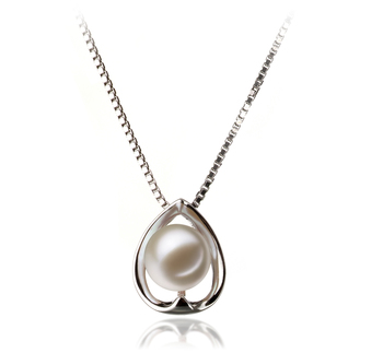 6-7mm AAAA Quality Freshwater Cultured Pearl Pendant in Amanda White