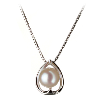 Amanda White 6-7mm AA Quality Japanese Akoya 925 Sterling Silver Pearl Pendant