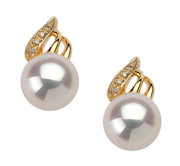 8-9mm AAA Quality Japanese Akoya Cultured Pearl Earring Pair in White