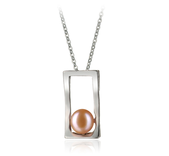7-8mm AA Quality Freshwater Cultured Pearl Pendant in Athena Pink