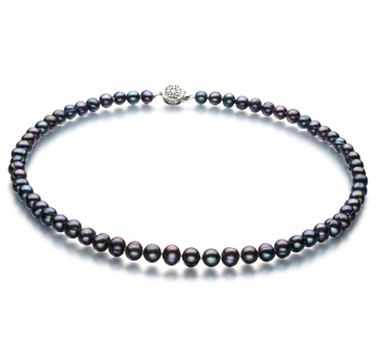 6-7mm A Quality Freshwater Cultured Pearl Necklace in Bliss Black