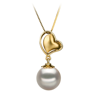 8-9mm AA Quality Japanese Akoya Cultured Pearl Pendant in Cora White