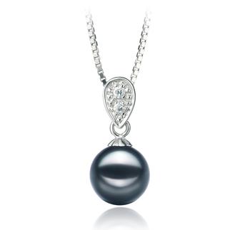 Daria Black 7-8mm AA Quality Japanese Akoya 925 Sterling Silver Pearl Pendant