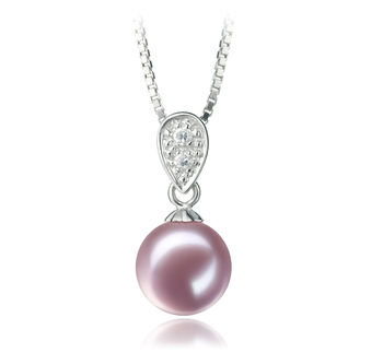 7-8mm AAAA Quality Freshwater Cultured Pearl Pendant in Daria Lavender