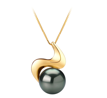 10-10.5mm AAA Quality Tahitian Cultured Pearl Pendant in Dominique Black
