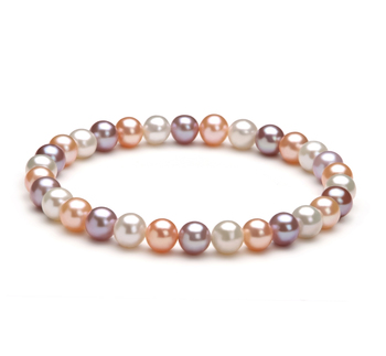 6-7mm AA Quality Freshwater Cultured Pearl Bracelet in Donna Multicolor