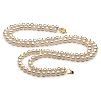 6-7mm AA Quality Freshwater Cultured Pearl Necklace in Double Strand White