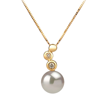 7-8mm AAA Quality Japanese Akoya Cultured Pearl Pendant in Galina White