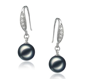 8-9mm AA Quality Japanese Akoya Cultured Pearl Earring Pair in Jacy Black