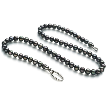 8-9mm A Quality Freshwater Cultured Pearl Necklace in Joyce Black