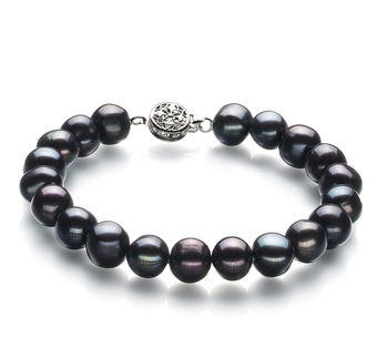 8-9mm A Quality Freshwater Cultured Pearl Bracelet in Kaitlyn Black