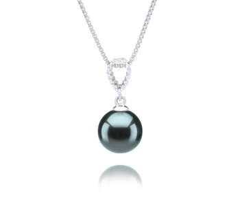 9-10mm AAA Quality Tahitian Cultured Pearl Pendant in Karen Black