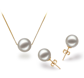8-9mm AAA Quality Japanese Akoya Cultured Pearl Set in Kristine White
