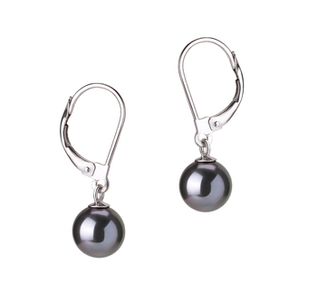 7-8mm AAAA Quality Freshwater Cultured Pearl Earring Pair in Marcella Black