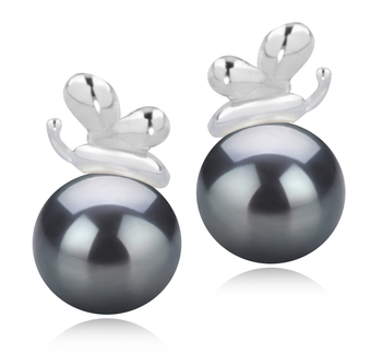 7-8mm AA Quality Japanese Akoya Cultured Pearl Earring Pair in Marsha Black