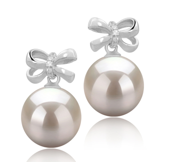9-10mm AAAA Quality Freshwater Cultured Pearl Earring Pair in Marte White