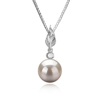 8-9mm AAAA Quality Freshwater Cultured Pearl Pendant in Miriah White