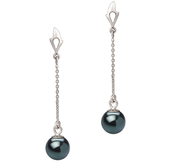 6-7mm AA Quality Japanese Akoya Cultured Pearl Earring Pair in Misha Black